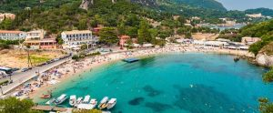 korfu Paleokastritsa panorama 300x124 - Amazing Landscape Azure Bay In Paleokastritsa In Corfu Island, Greece
